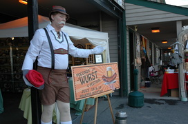 Mark Clark of Aardvark Entertainment as the Bavarian Style pie man living statue with sausage platter.
